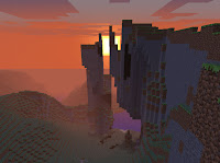 Minecraft: screenshot of cliff at sunset