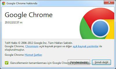 Google chrome 21 güncelleme
