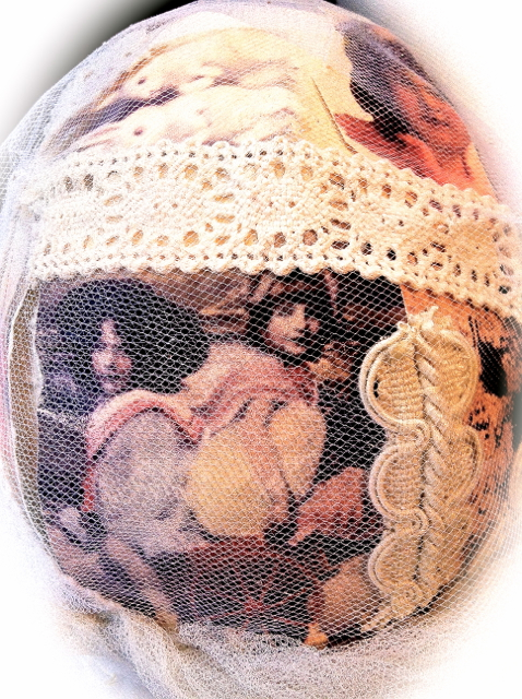 swedish interior design easter egg handmade with lace and netting and vintage pics