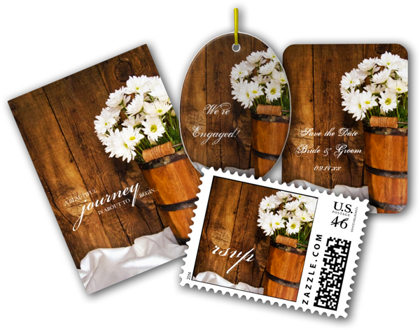 Wooden Bucket and Daisies Country Wedding Invitations