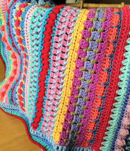 Crochet For Children Multi Stitch Striped Blanket Free Pattern
