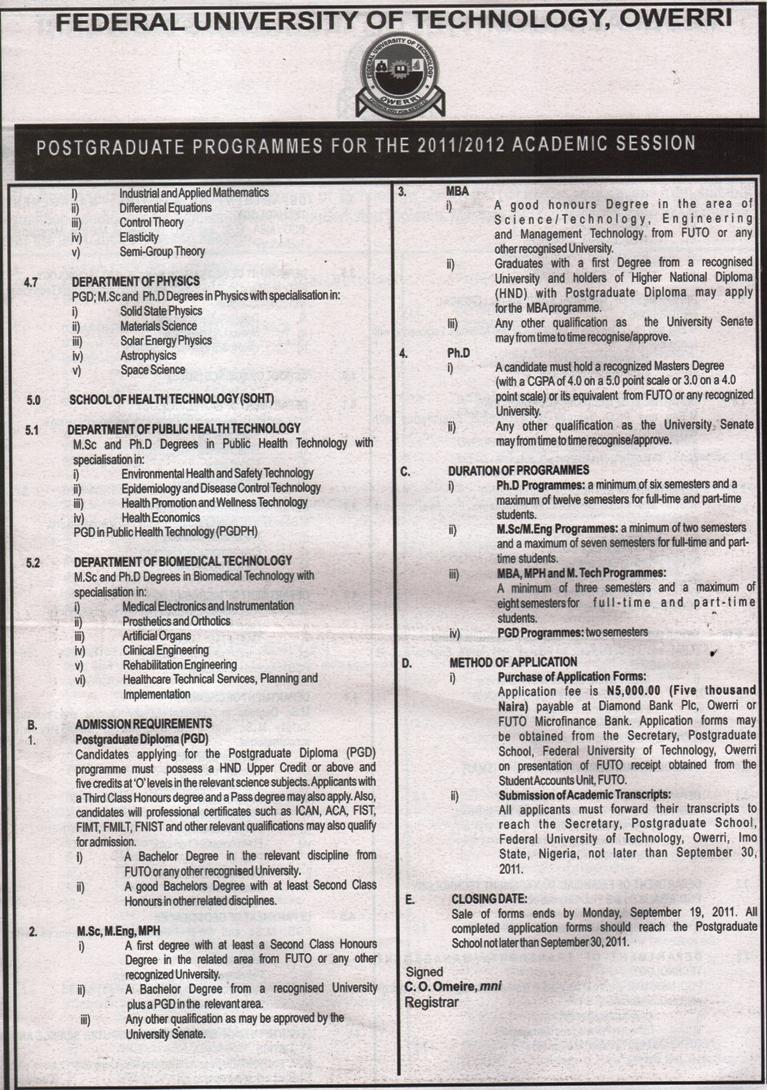 exchange federal university of technology owerri federal university of technology owerri postgraduate programmes for the 2011 2012 academic session