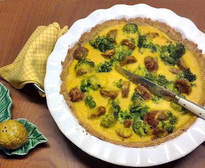 Pastel de Brocoli y Chorizo Vegano con Crema de Maiz