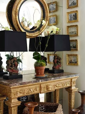 vignette styling chest oversized gold mirror
