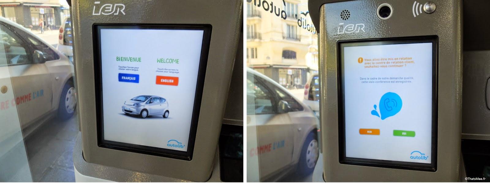 Espace Autolib' inscription sur écrans bornes téléconseiller  station voiture électrique