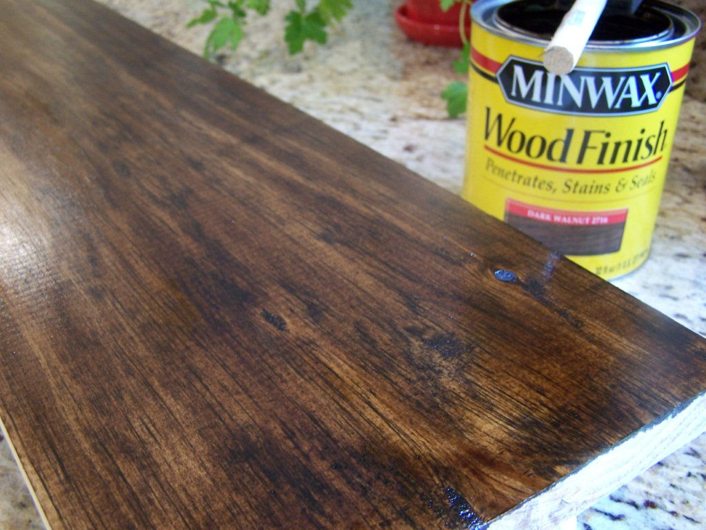 Stain your board. I used Minwax's Dark Walnut from Home Depot.