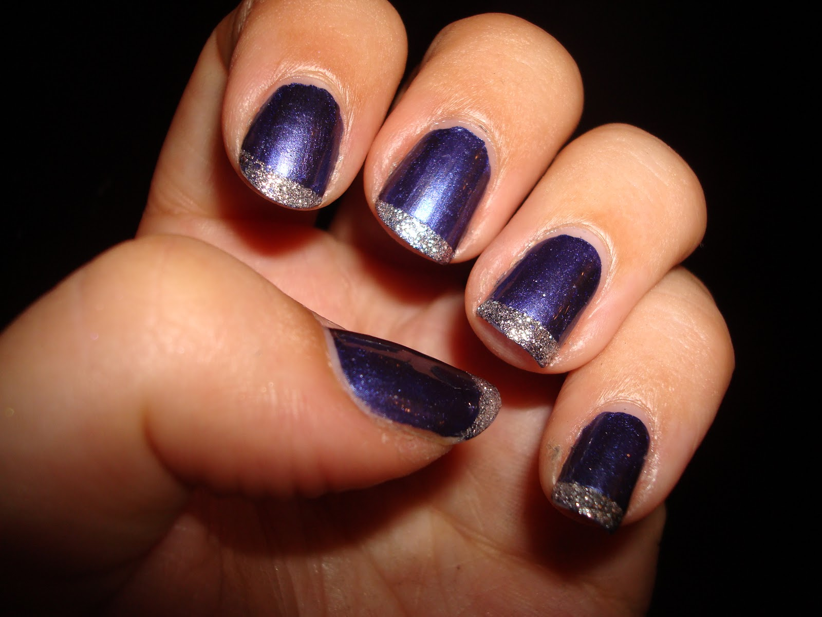 Navy and silver sparkle french manicure NOTD   flutter and sparkle