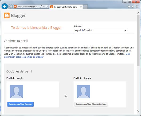 Selección de perfil de Blogger