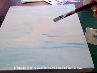 Painting the Canvas and adding blue flecks