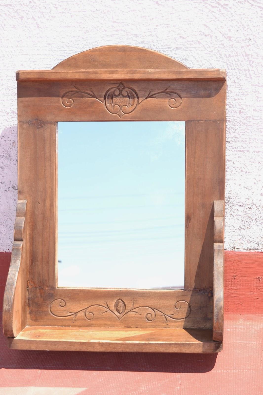 Artesan a r stica en madera marco repisa con espejo for Espejos de pared madera