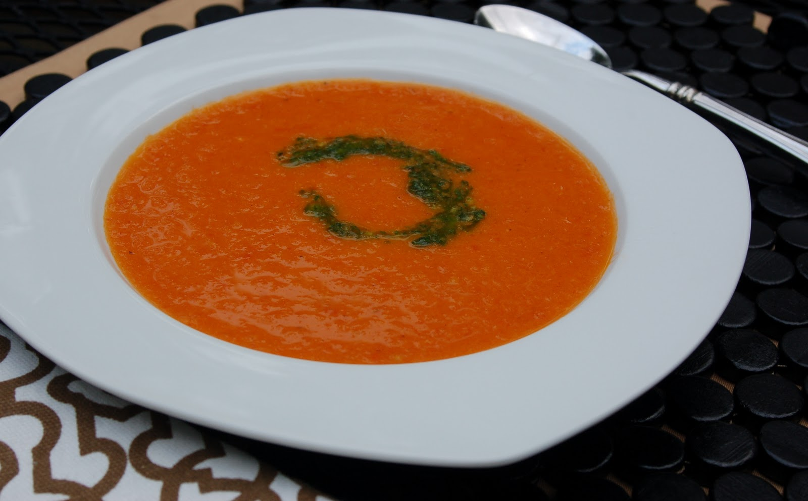 Another Marvelous Meal: Roasted Tomato Soup with Basil Coulis