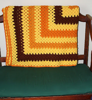 Harvest Gold Retro Granny Square Twin Size Afghan by JusShar