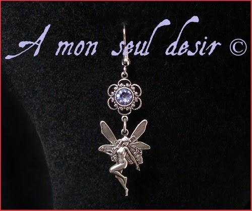 Boucles d'Oreilles fée féerique elfique Mélusine bijou strass Swarovski lilas lavande fairy earrings
