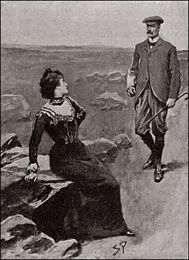 I was astounded to see Miss Stapleton sitting upon a rock by the side of the track. Her face was beautifully flushed with her exertions, and she held her hand to her side.<br><br>It seems, that there must have been some short cut for those who knew it, for Miss Stapleton reached the road before I.