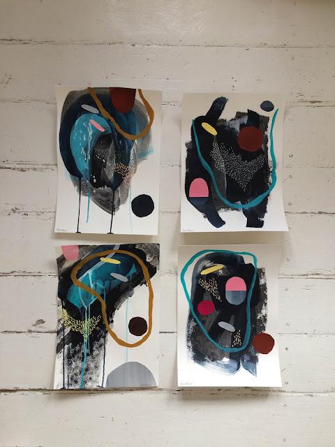akrylmaling på papir af Kristina Karkov