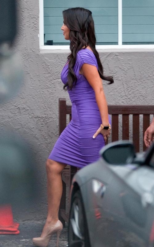 Kim Kardashian In A Purple Tight Dress Kim-Kardashian