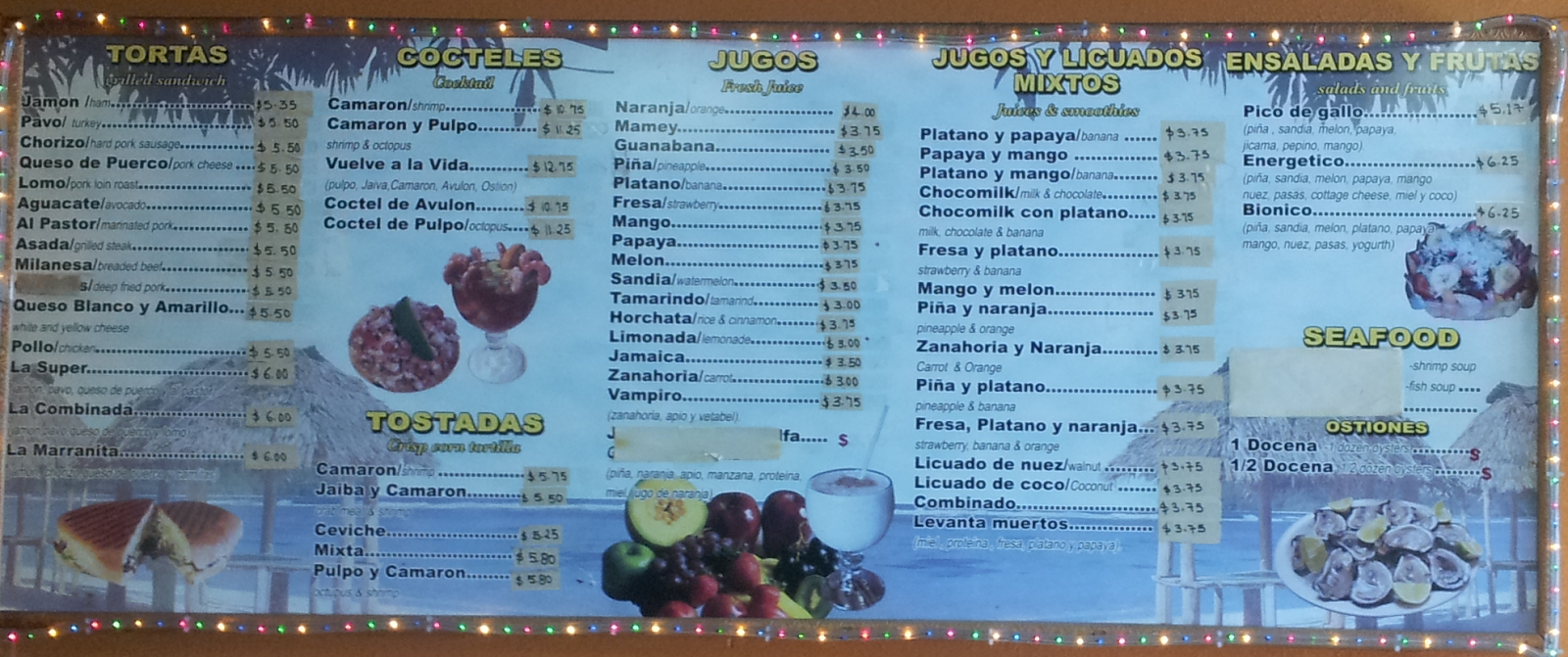 Vc Menu La Palapa Juice Bar Oxnard