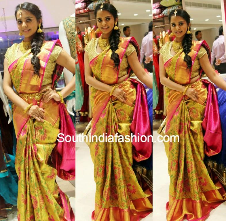 gold color pattu saree