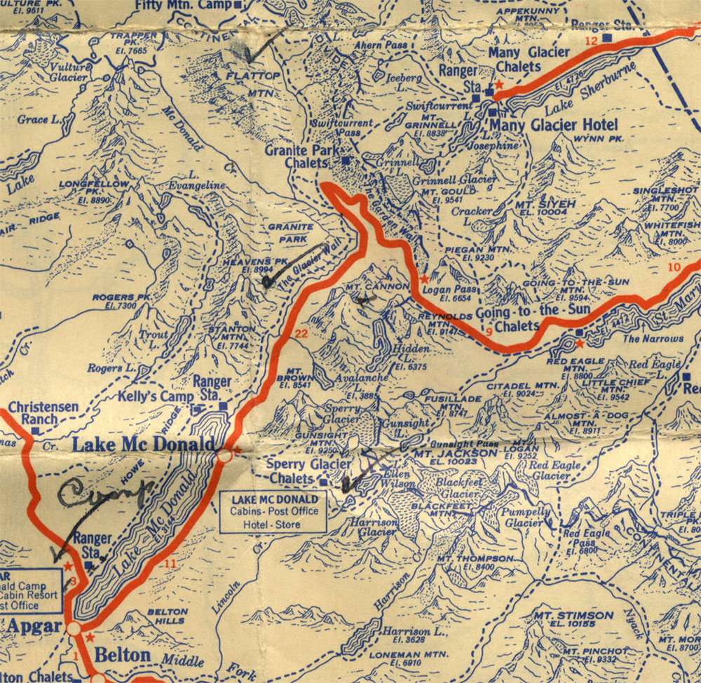 current camp on bottom left lake sherburne on top right robert s 1936 glacier national park map