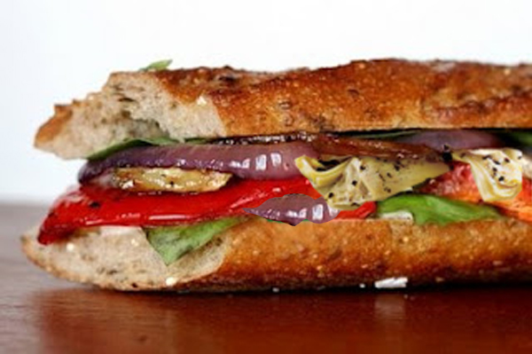 ... Profound Hatred of Meat: Roasted Vegetable Baguette with Parlsey Pesto