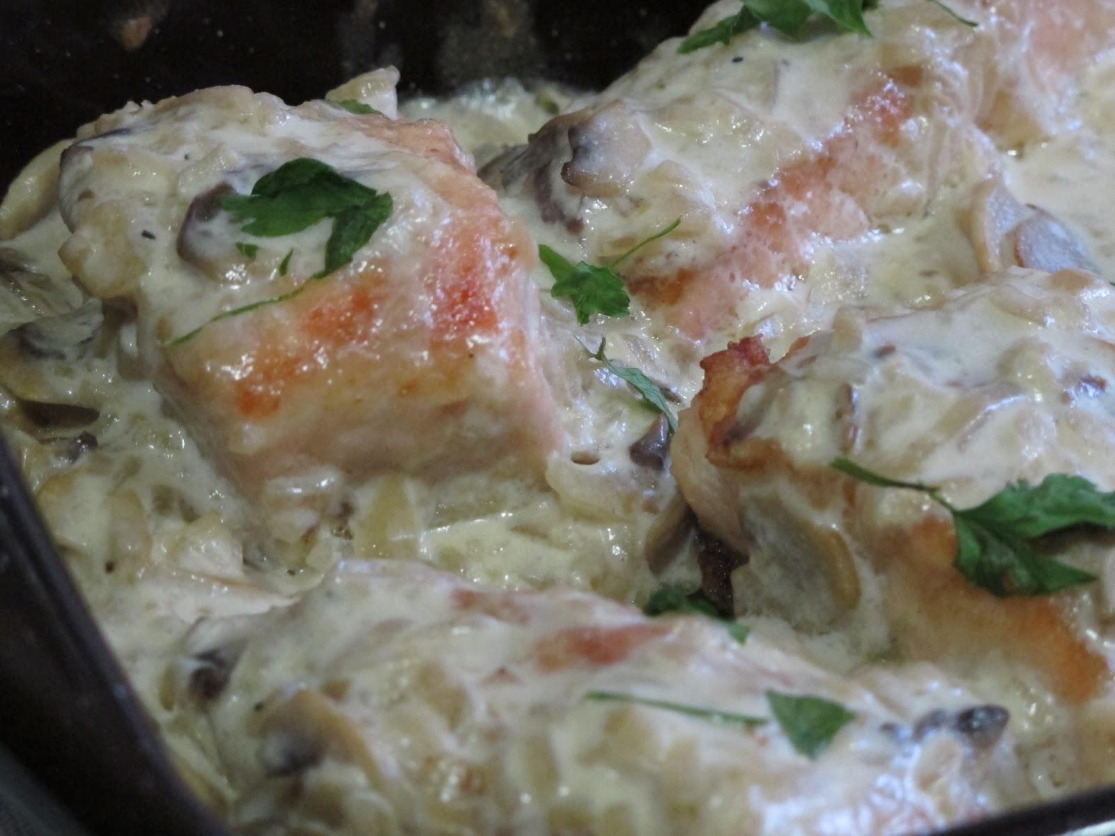 El gusto por lo bueno salm n al horno con champi ones y - Salmon con champinones ...