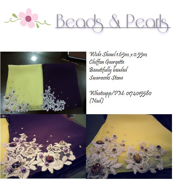 Shawls Lace, Tudung Shawls, Beads & Pearls