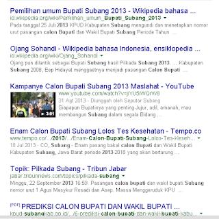 Halaman pertama google dengan keyword pada Calon Bupati Subang pada 2015