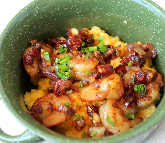 Cheddar Polenta with Sun-dried Tomatoes &amp; Shrimp 