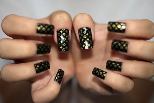 Insane Nails And Tattoos Louis Vuitton Nails Nail Art Tutorial