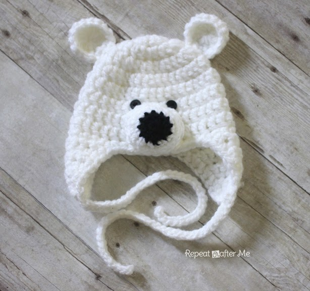 Crochet Baby Teddy Bear Hat Pattern : Repeat Crafter Me: Crochet Polar Bear Hat Pattern