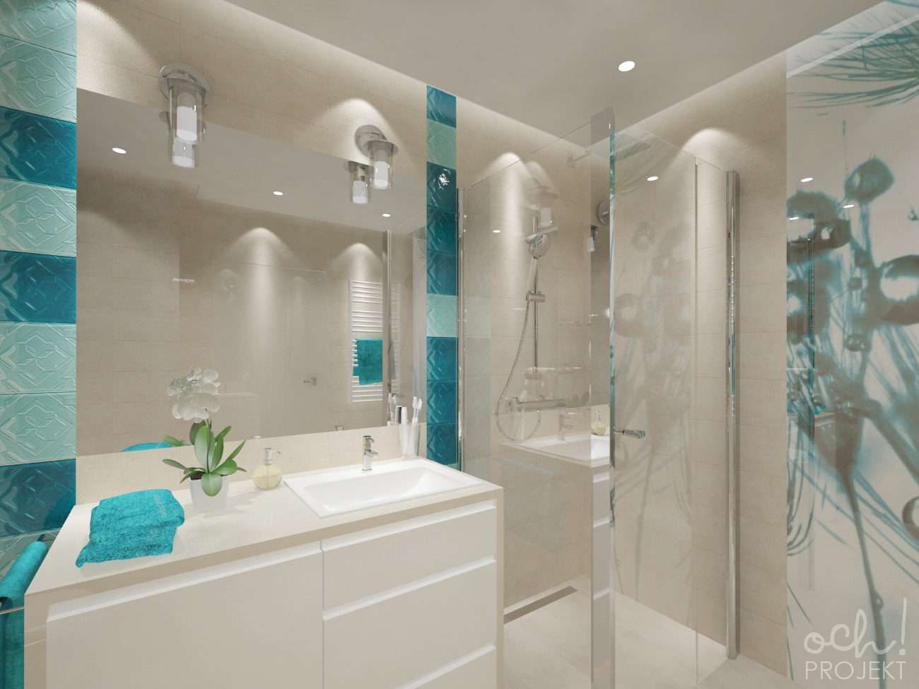 Ochprojekt Projekt Turkusowej Sypialni I łazienki