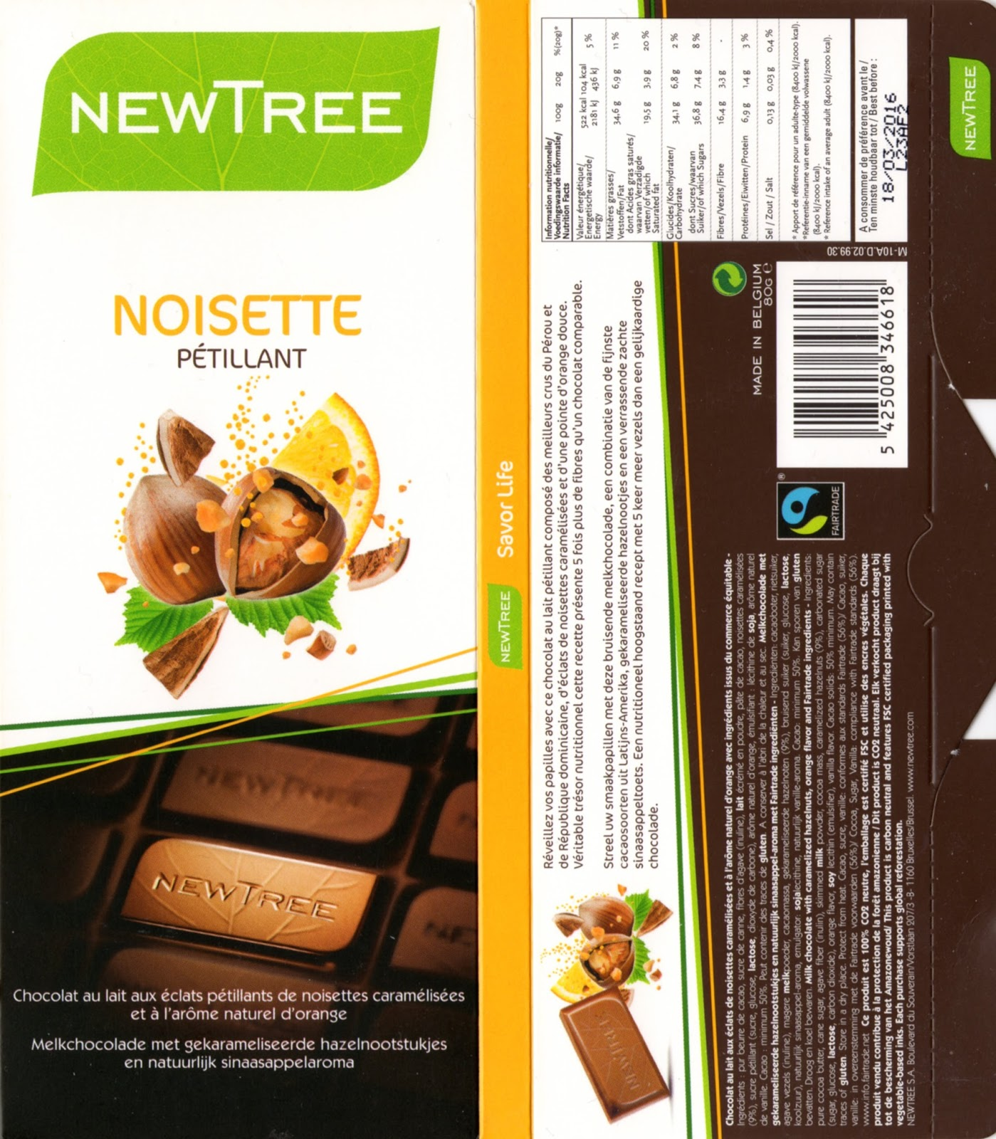 tablette de chocolat lait gourmand newtree lait noisette pétillant