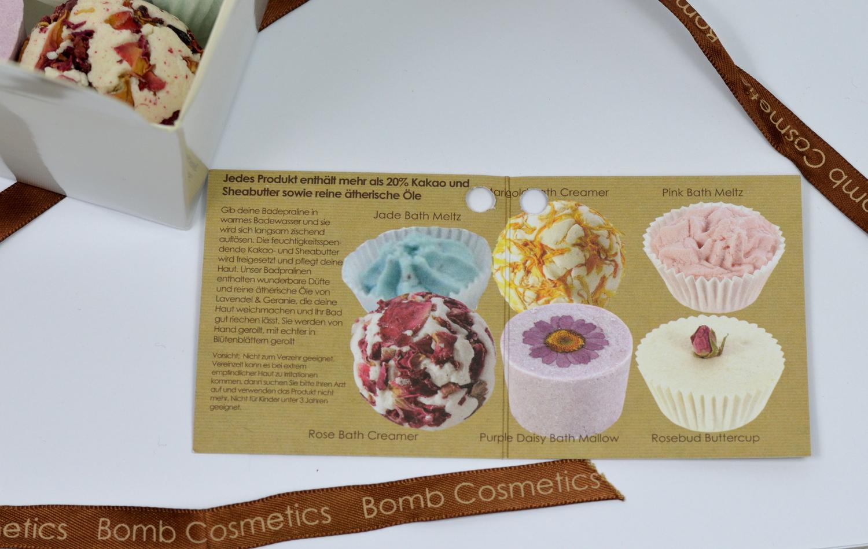 Beschreibung der Badepralinen von Bomb Cosmetics