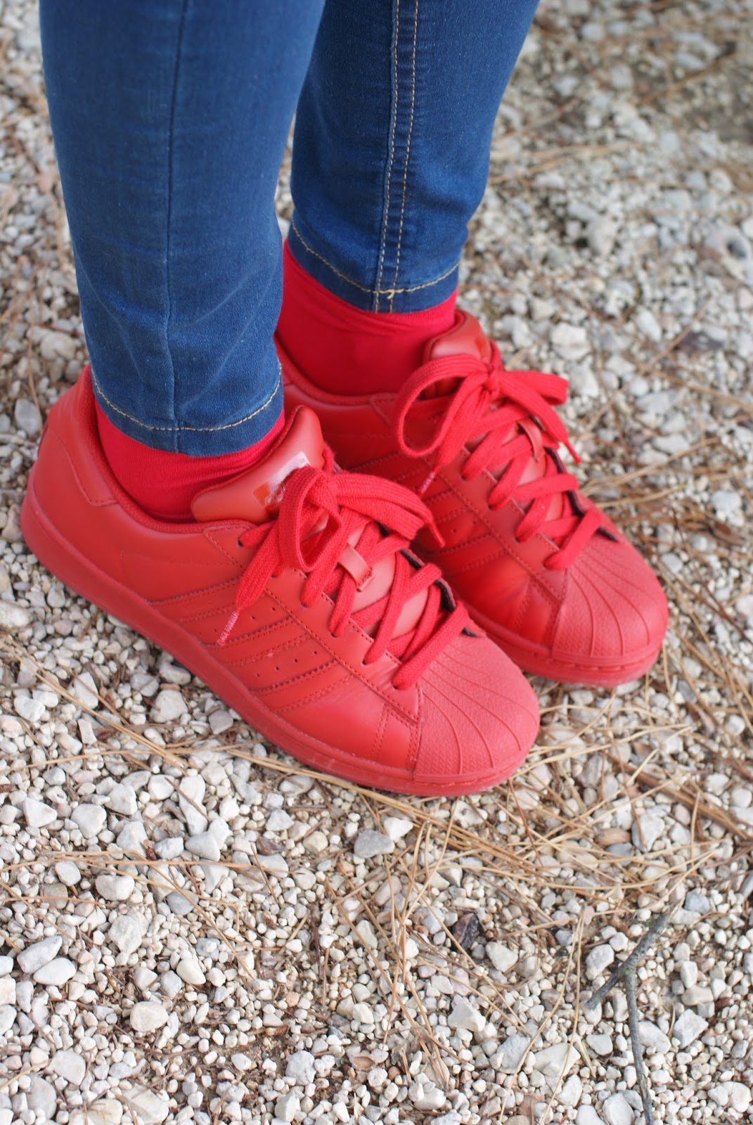 Red adidas supercolor superstar sneakers on Fashion and Cookies fashion blog