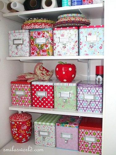 Inspira o e divers o atelier id ias de caixas para - Forrar cajas de carton con telas ...