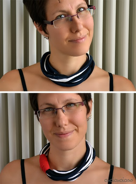 Super easy, no-sew t-shirt sleeve necklace