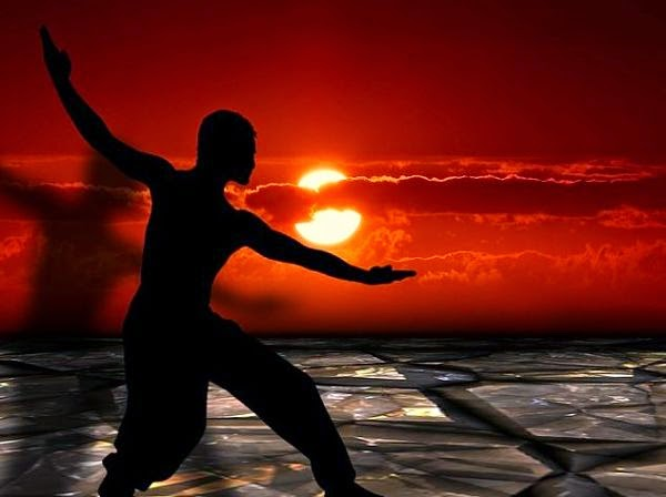Tai Chi exercises at sunset