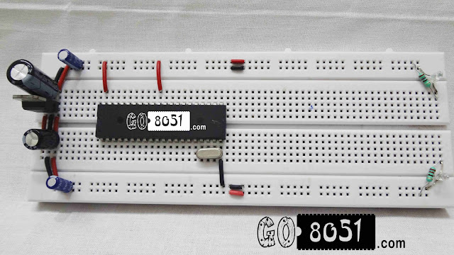 Breadboard Microcontroller 8051 Mounting and Led Blinking-Practical Tutorial