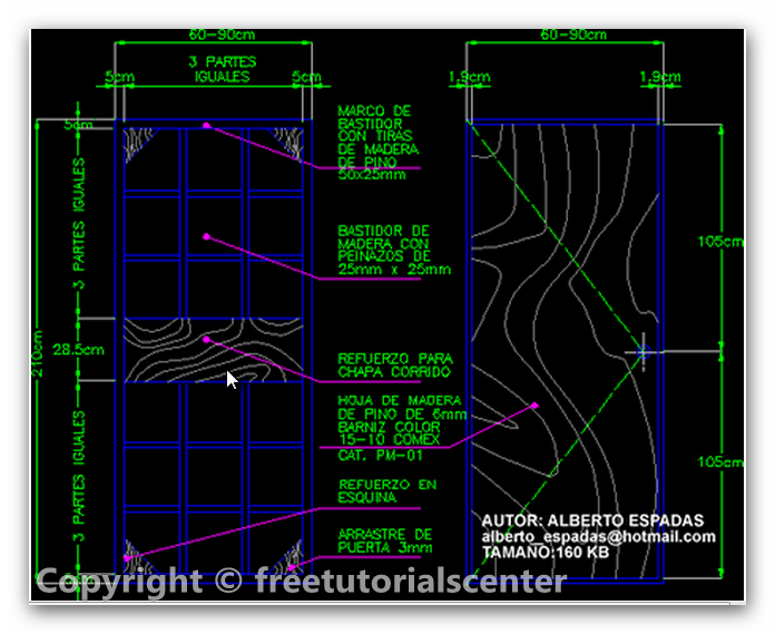 wooden door section dwg 2