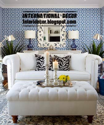 white Ottoman and banquette with white sofa