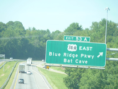 Sign to Blue Ridge and Batcave