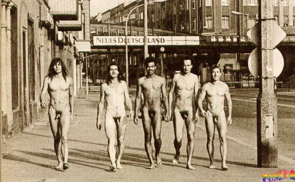 naked men just walking down