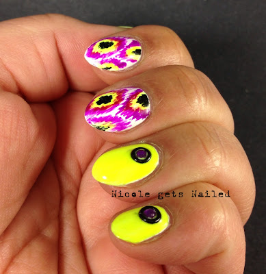 Neon Purple and Yellow Ikat Nail Art