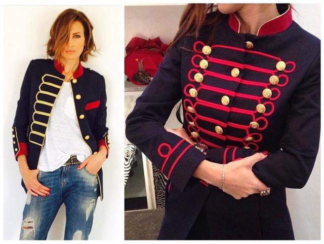 Chaqueta militar mujer roja