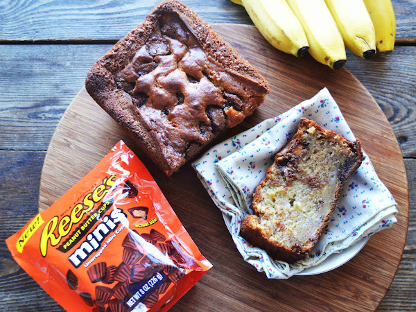 Brown Butter Banana Bread filled with Peanut Butter Cups