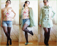 Outfit Denim Shorts, Floral Corsage-Top & Mint Coat