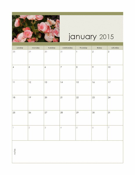 2015 monthly photo calendar, sunday to saturday, Publisher