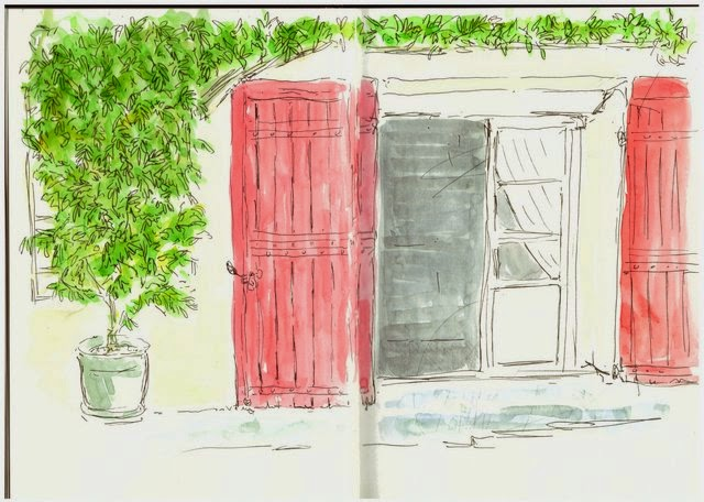 Watercolour and ink sketch doorway wisteria France Dordogne