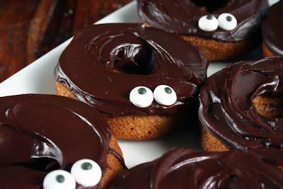 baked pumpkin chocolate donuts