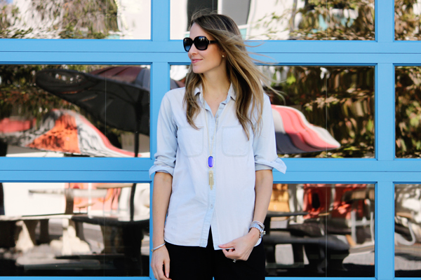 Madewell chambray shirt + Kendra Scott tassel necklace
